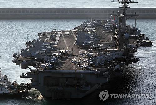 """资料图片:""""卡尔・文森""""号航空母舰。(图片来源:韩联社)"""