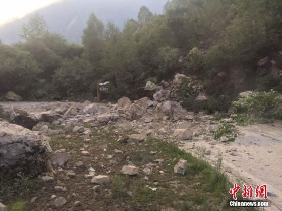 8月8日21时19分在四川阿坝州九寨沟县发生7.0级地震,震源深度20千米。图为进沟公路上落石满地。程利军 摄