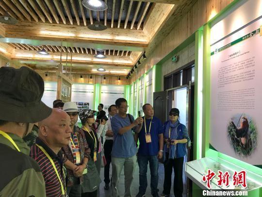 海外华文媒体代表参观生态科普馆 董晓斌 摄