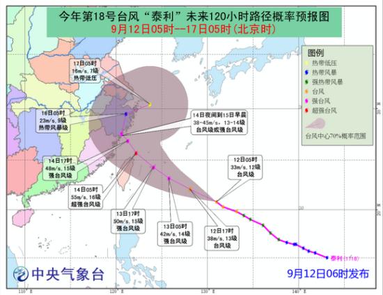 """图1 台风""""泰利""""未来120小时路径预报图"""
