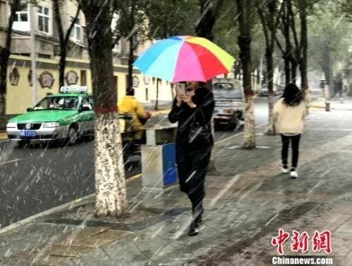 图为9日西宁市区飘起鹅毛般大雪,市民撑伞行走。 孙睿 摄