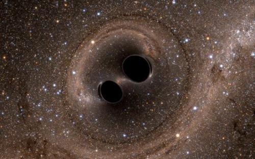黑洞合并模拟图。(图片来源:NASA)