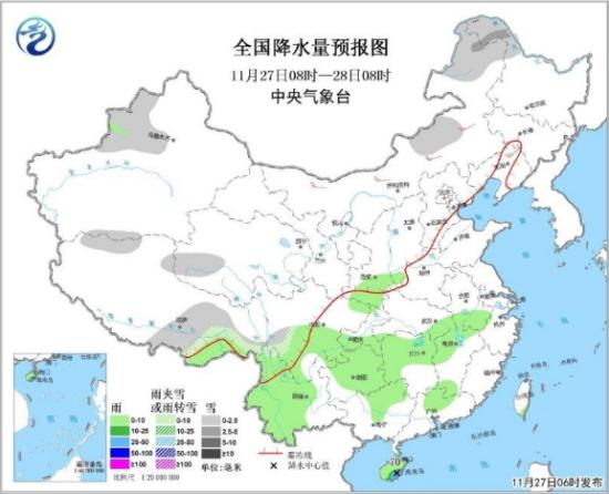 图1 全国降水量预报图(27日08时-28日08时)