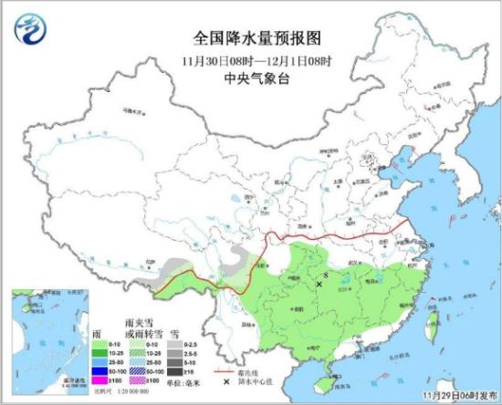 图2 全国降水量预报图(11月30日08时-12月1日08时)