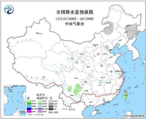 全国降水量预报图(19日08时-20日08时)