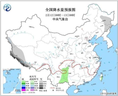 全国降水量预报图(2月12日08时-13日08时)