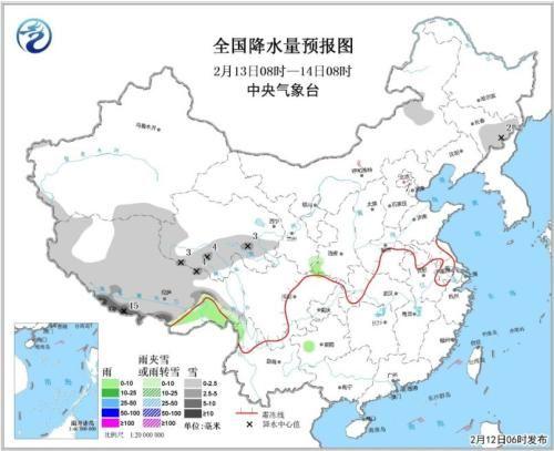 全国降水量预报图(2月13日08时-14日08时)