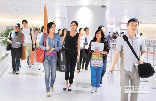 导游在桃园机场引导陆客团。(图片来源:中时电子报)