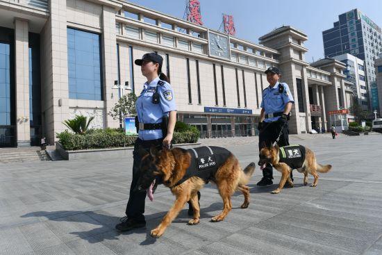 上合峰会期间与战友一起牵着警犬巡视在襄阳火车站。