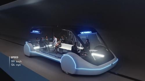 """马斯克旗下公司所设计的""""滑板式""""隧道车,将成为芝加哥市区与奥黑尔机场的未来交通选项之一。(图片来源:Boring公司视频截图)"""