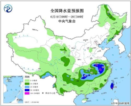 全国降水量预报图(6月19日08时-20日08时)。图片来源:中央气象台