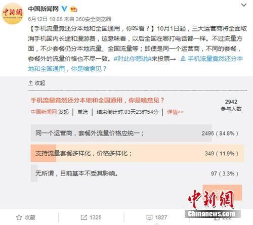 """2017年6月份,中国新闻网微博发起关于""""手机流量竟还分本地流量和全国通用,你咋看?""""的小调查,引发网友关注。截图"""