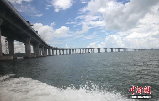 资料图:轮船驶过港珠澳大桥香港段。 中新社记者 洪少葵 摄