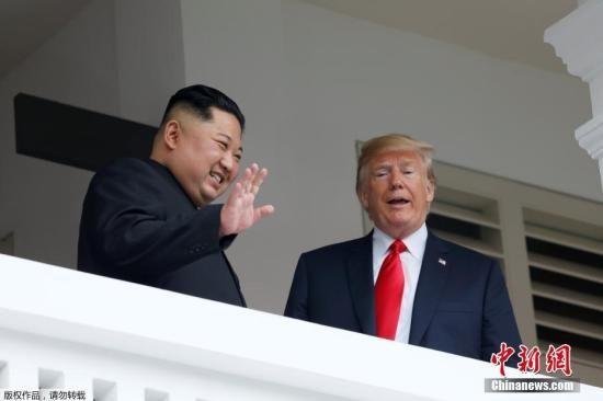 图为2018年6月12日金正恩与特朗普会晤现场。