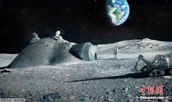 资料图:2017年9月25日消息,欧洲航天局9月22日发布3D打印月球基地效果图。预计到2040年,将有100人生活在月球上,融冰为水,3d打印房屋和生活工具,在月球土壤中种植植物。