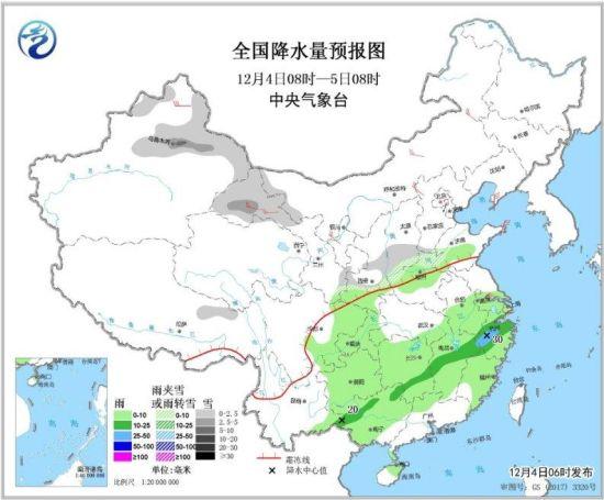图1 全国降水量预报图(12月4日08时-5日08时)