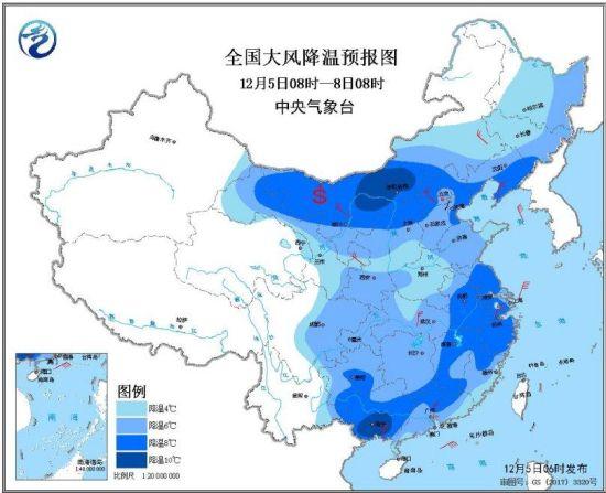 图1全国大风降温预报图(12月5日08时-8日08时)