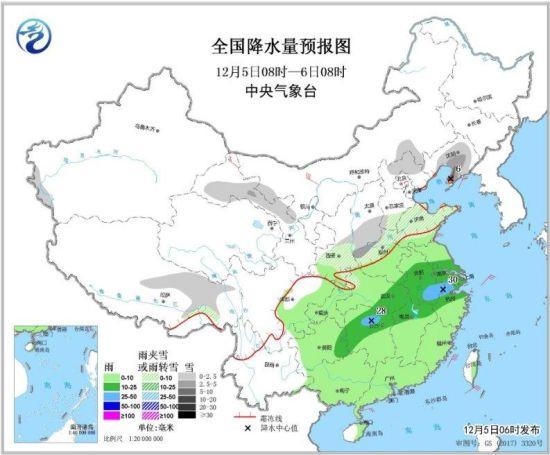 图3 全国降水量预报图(12月5日08时-6日08时)
