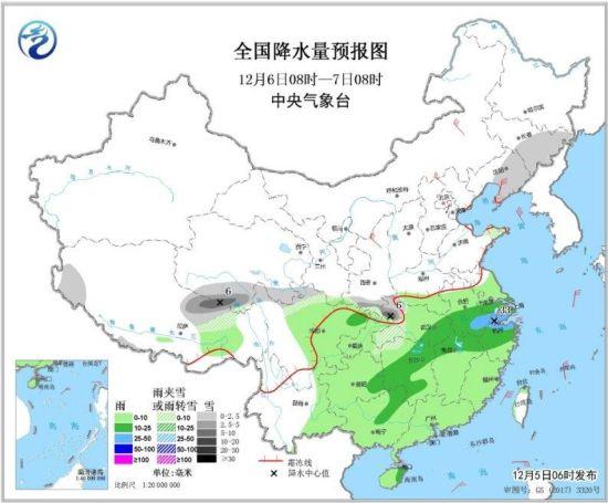 图4 全国降水量预报图(12月6日08时-7日08时)