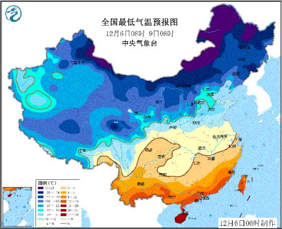 图2全国最低气温预报图(12月6日08时-9日08时)