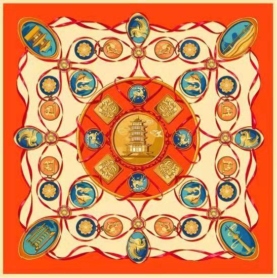 图为专业组金奖作品――武汉美成在久文化传播有限公司选送作品《武汉映象丝巾》