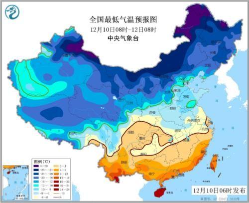 全国最低气温预报图(12月10日08时-12日08时)