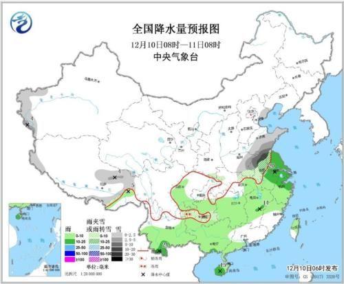 全国降水量预报图(12月10日08时-11日08时)