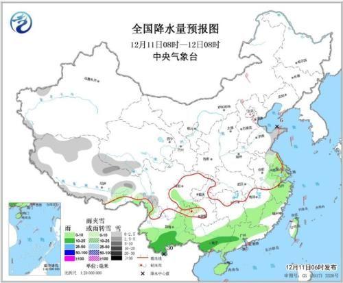 全国降水量预报图(12月11日08时-12日08时)