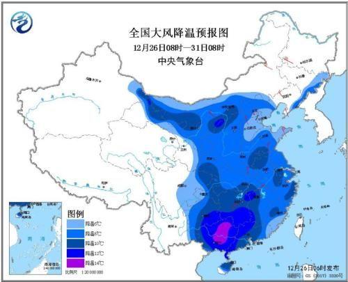 全国大风降温预报图(12月26日08时-31日08时)
