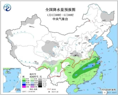 图1 全国降水量预报图(1月4日08时-5日08时)