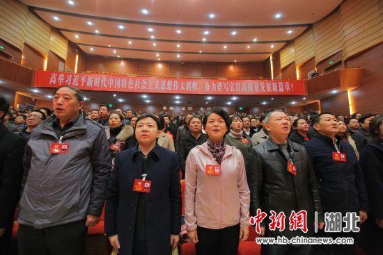 政协委员起立唱国歌 中新社刘良伟摄