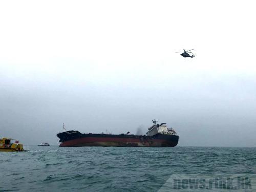 货轮据报在海中加油时发生爆炸。图片来源:香港电台/廖汉荣 摄