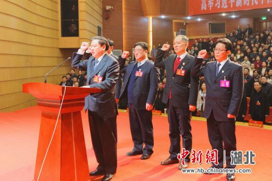 新当选人员向宪法郑重宣誓 中新社刘良伟 摄