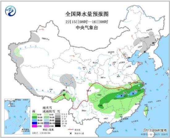 全国降水量预报图(2月15日08时-16日08时)