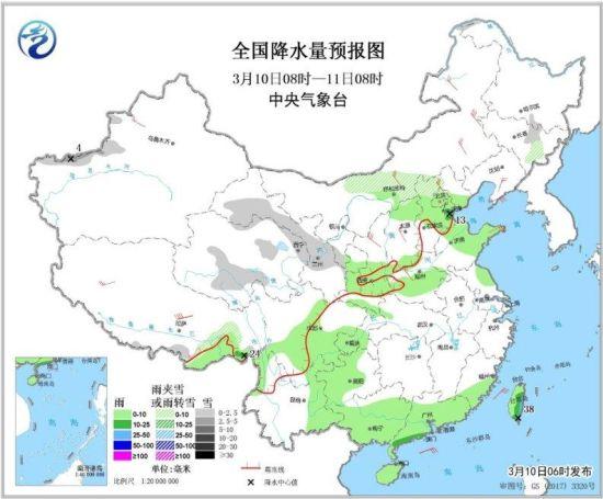 全国降水量预报图(3月10日08时-11日08时)