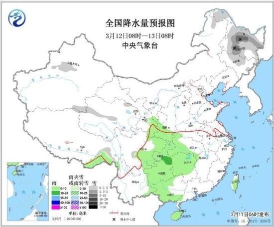 图2 全国降水量预报图(3月12日08时-13日08时)