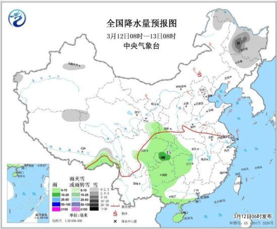 图1 全国降水量预报图(3月12日08时-13日08时)