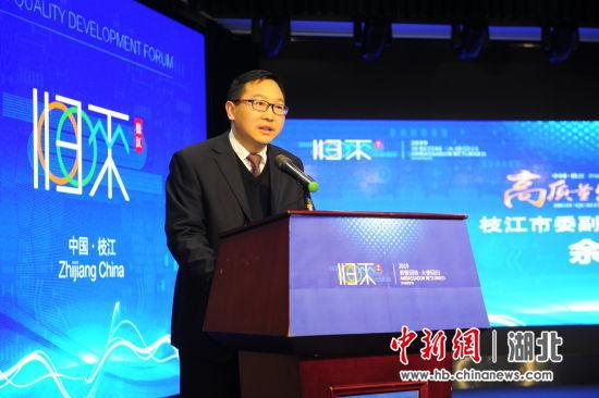 枝江市委副书记、代市长余峰致辞 刘康 摄