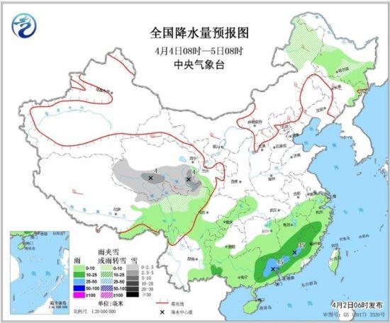 图3 全国降水量预报图(4月4日08时-5日08时)