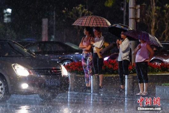 资料图:街头行人撑伞挡雨。中新社记者 陈骥�F 摄