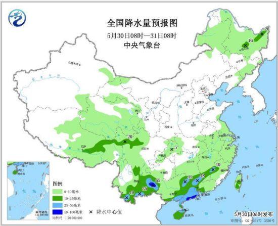 图1 全国降水量预报图(5月30日08时-5月31日08时)