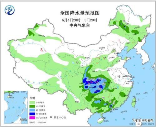 图6 全国降水量预报图(6月4日20时-5日20时)