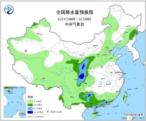 图4 全国降水量预报图(6月4日08时-5日08时)