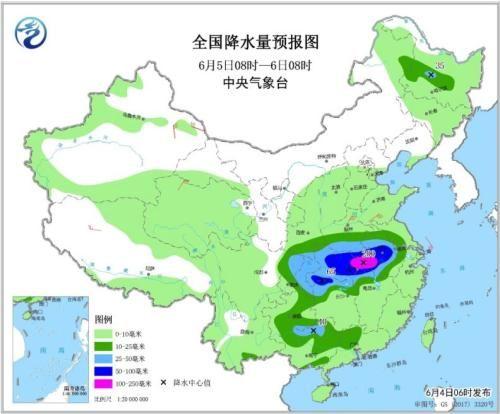 图5 全国降水量预报图(6月5日08时-6日08时)