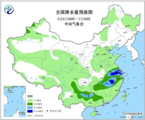 图6 全国降水量预报图(6月6日08时-7日08时)