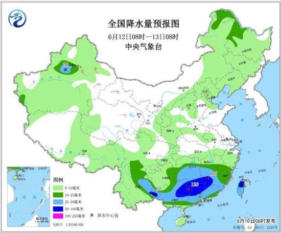 全国降水量预报图(6月12日08时-13日08时)