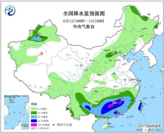 图3 全国降水量预报图(6月12日08时-13日08时)