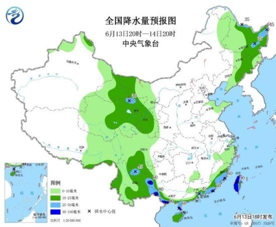 全国降水量预报图(6月13日20时-14日20时)来源:中央气象台