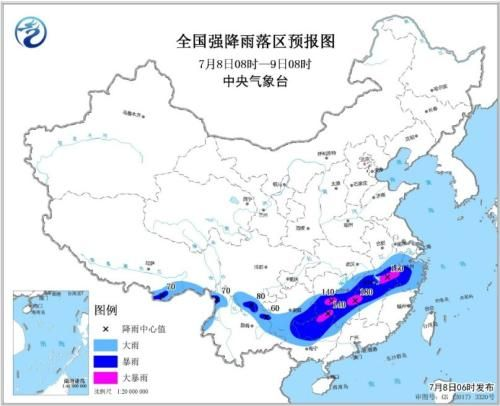 全国强降雨落区预报图(7月8日08时-9日08时)