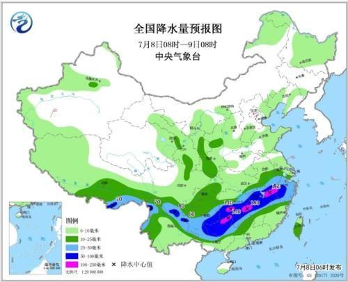 全国降水量预报图(7月8日08时-9日08时)